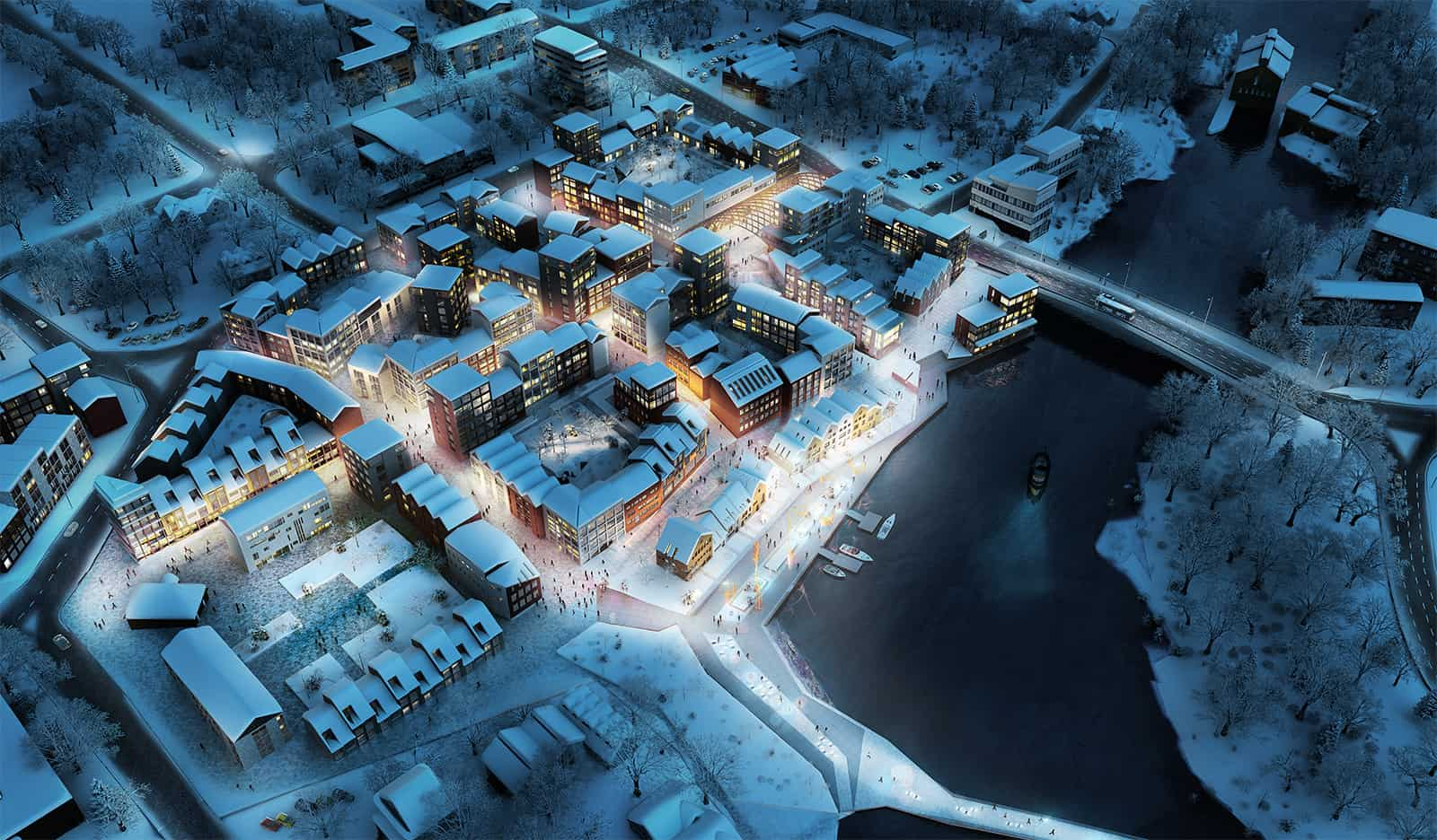 Finland • Housing • Mixed use • Bird Eye • Winter