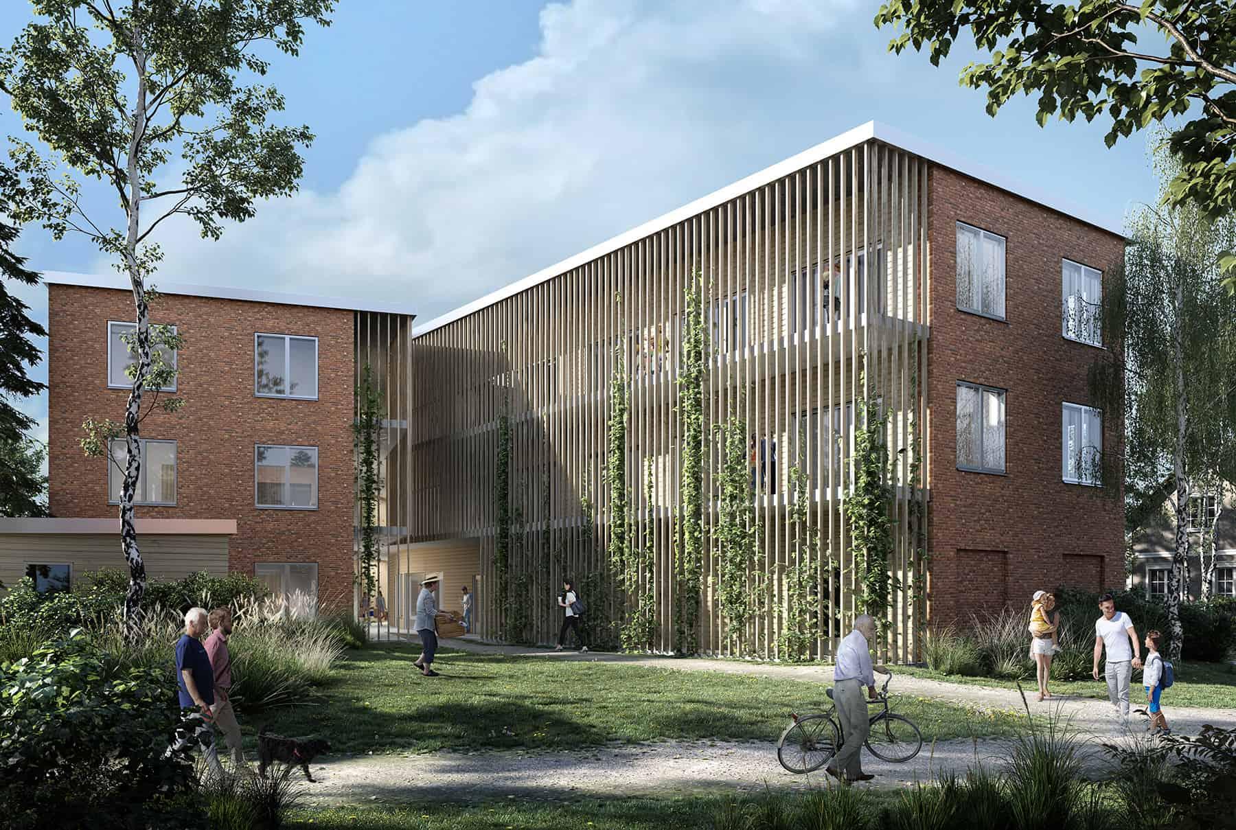 Finland • Apartments • Brick and wood Facade